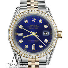 Ladies Rolex Steel & 18K Gold 26mm Datejust Blue Color 8+2 Diamond Dial Watch
