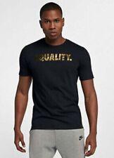 New Nike Equality Dri-Fit Tshirt Black & Gold Metallic AO8200-010 Size X Large
