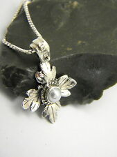 Sterling Silver Pearl Cross Pendant Necklace vine leaf victorian style