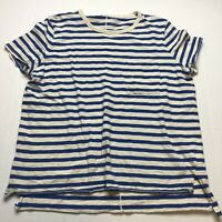 Old Navy Sz L Blue Stripe Boyfriend Fit T-Shirt A1693