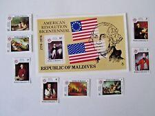 Maldive Islands 1976 American Bicentennial Issue, Mint/NH #622-29 & #630 S/S