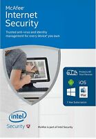 McAfee Internet Security 2017, 1 Year License,1 PC