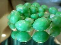 Classy Long  Green White Marble Color Lucite Beads Vintage 50's Necklace 101Ap8