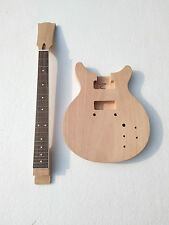New Brand  double cutaway project unfinish guitar kit with nibs on fret