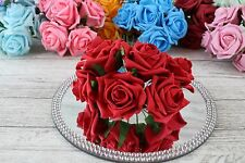 1 Bunch Colourfast Foam Rose Bouquet Wedding Artificial 6 Flowers 35 Colours 5cm Red