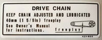HONDA XRV750 AFRICA TWIN DRIVE CHAIN CAUTION WARNING DECAL
