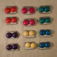 VINTAGE RETRO 80s MULTICOLOR BUTTON CLIP EARRINGS NOS LOT 12pr FREE SHIPPING iW