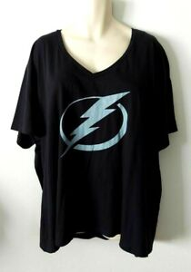 Tampa Bay Lightning Womens T Shirt Size 3XL Fanatics Black V Neck Tee NHL New