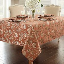 """Waterford 90"""" Round Williamsburg Copper Sand Taupe Cream Floral TABLECLOTH"""