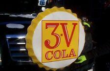 Vintage Rare 1965  3V Cola Metal Soda Pop Bottle Cap LG Sign 28in Coca Rootbeer