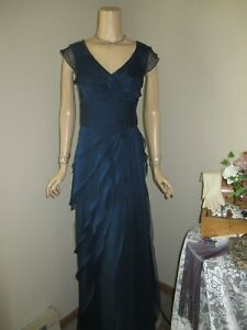 Mother Of the Bride Dress by Adrianna Papell-Size 12-Navy Layered Gown