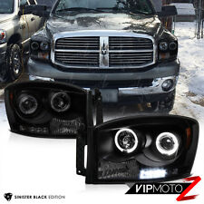 2006-2008 Dodge Ram 1500 2500 3500 SINISTER BLACK LED Halo Projector Headlights
