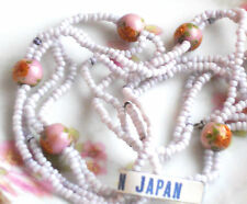Vintage Glass Bead Necklace, Flower Beads, Made in Japan Beaded Floral #603N