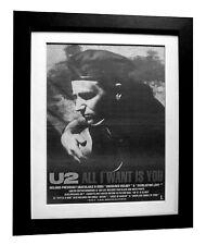 U2+All I Want Is You+POSTER+AD+RARE ORIGINAL 1989+QUALITY+FRAMED+FAST WORLD SHIP