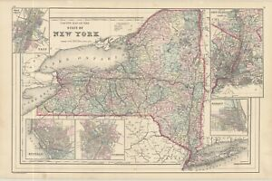 """1877 Bradley """"County Map of the State of New York"""""""