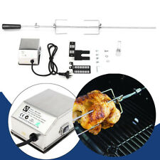 BBQ Spit Roaster Rotisserie Barbeque Grill Rod Camping Motor Stainless Steel Kit
