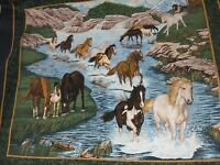 River Run Horse Equine Wall Quilt By the Panel Fabric 35x44 green cotton craft