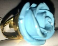 Gorgeous Tech Carved Rose Flower Turquoise color 3D Ring Gold tone in Size 6,7,8