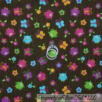 BonEful Fabric FQ Cotton Quilt VTG Brown Wood Tree Owl Flower Pink Purple Calico