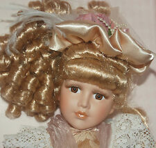 Vintage Porcelain doll on stand handling Umbrella in Handle Box
