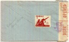 1942 South Africa 1½d env->GB w/Medical Aid For Russia Our Ally 1d label/stamp