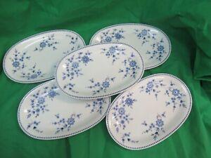 Seltmann Weiden Bayrisch blau Geschirr, 5 Teller, Speiseteller, Platten