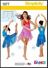 Simplicity Sewing Pattern 1077 Girls Dance Dress Skirt Unitard Costume