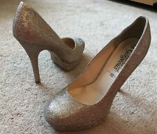 Newlook Gold Sparkly Platform Court Shoes Uk Size 5 EUR 38 Worn Once !