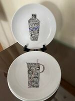 Crate And Barrel Appetizer Plates  7 inches White/black Set Of 4