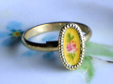 Vintage Ring Guilloche Enamel Rose Handpainted Floral 2 adjustable NOS #1126T