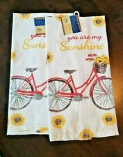 """2 Flour Sack Towels """"You Are My Sunshine"""" Bicycle and Sunflowers 100 pc Cotton"""