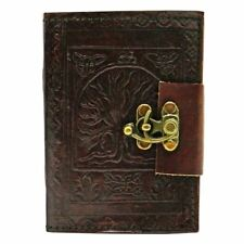 Tree Of Life Leather Journal With Metal Lock  Writing Notebook And Diary