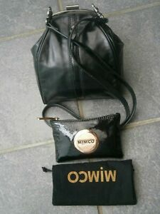 2 -MIMCO CROSSBODY LILLIPUT HIP LEATHER BLACK BAG & MIMCO PATENT LEATHER POUCH.
