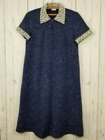 Vintage Mothercare Maternity Utility Dress Women's Size 1 Small Blue Half Zip