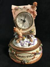 Antique Celebration of Love Cherub & Rose & Ribbon Mantel Clock Battery Operated