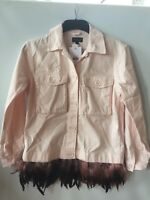 Ladies Baby Pink With Feather Detail Jacket Size 6 By Topshop Brand New