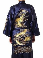 De hombre japoneses Bordado Dragon Seda Raso Noche Bata Kimono Azul Oscuro