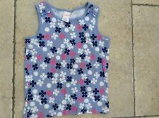 Gymboree Blue Sleeveless Flower Print Tee Top Age 7 Vgc