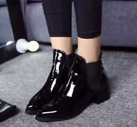 Women's casual High Block Heel Pointed Toe Patent leather Elastic Ankle Boots
