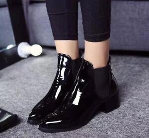 Women's Med Block Heel Pointed Toe Patent Leather Ankle Boots Chelsea Shoes Size