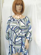 NWT - TRAVEL ELEMENTS Pretty blue multi-color blouse - sz 3X - MSRP $108.00