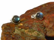 LABRADORITE  Sterling Silver 925 Gemstone Earrings / STUDS - 8 mm