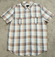 Prana Button Down Short Sleeve Shirt Mens Large Orange Gray Plaid L Casual