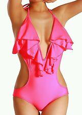 NWOT Cloris Murphy Sexy Ruffled Halter One Piece Monokini Swimwear BN303 OSFM
