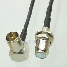 F female nut bulkhead to IEC DVB-T TV PAL male right angle RG174 pigtail 15cm