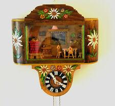 Reloj De Pared rara Vintage 1950s Kitsch Diorama Musical ~ Sombra Caja-Funcionando