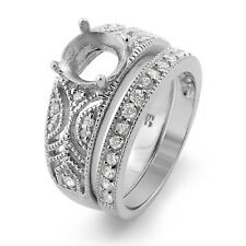 0.50Ct Round G VS2 Diamond Setting Wedding Bridal Set Engagement Platinum Ring
