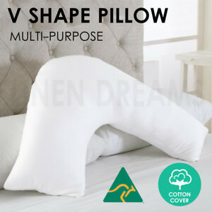 Aus Made Tri Boomerang V Shape Maternity Nursing Pregnancy Support Pillow Cotton