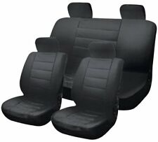 Leather Look Full Car Seat Covers with 4 headrest covers - Black