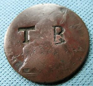 1700s George III British Halfpenny Old Copper Coin - Counterstamp TB Tobago?